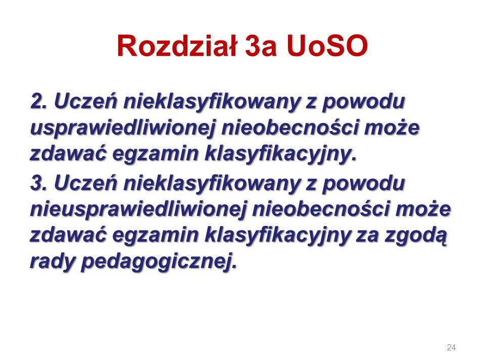 Rozdział 3a UoSO 2. Uczeń nieklasyfikowany z powodu usprawiedliwionej nieobecności może zdawać egzamin klasyfikacyjny.