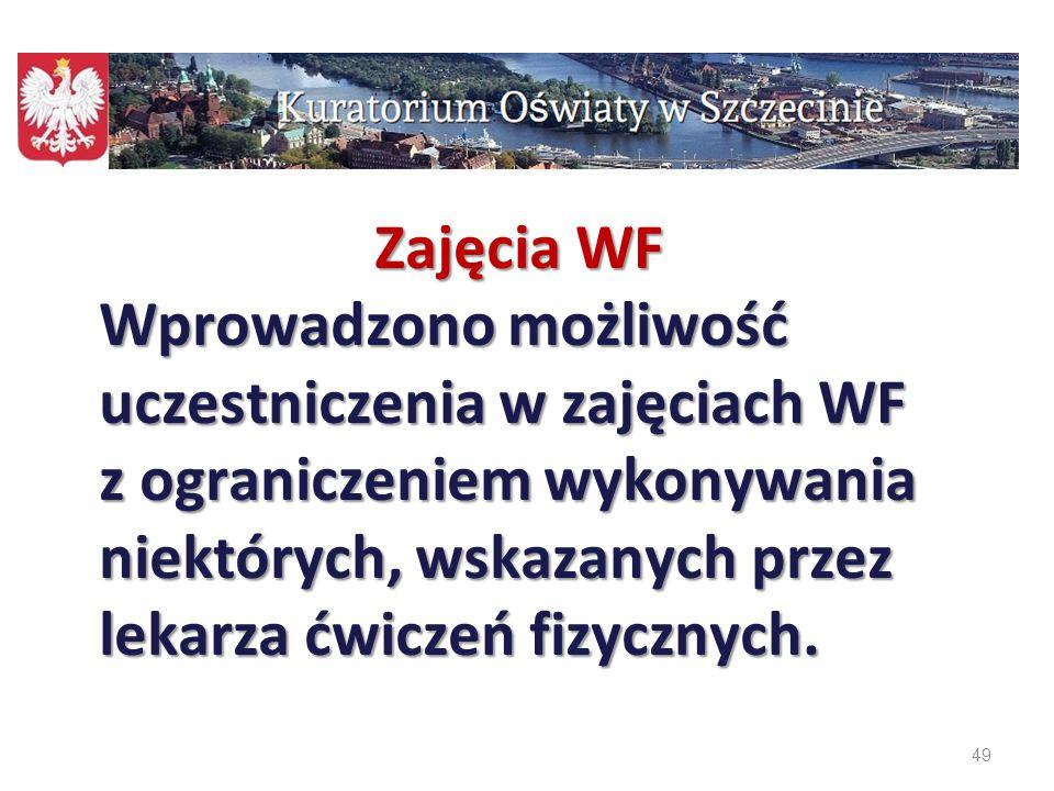 Zajęcia WF Wprowadzono możliwość uczestniczenia w zajęciach WF z ograniczeniem wykonywania niektórych, wskazanych przez lekarza ćwiczeń fizycznych.