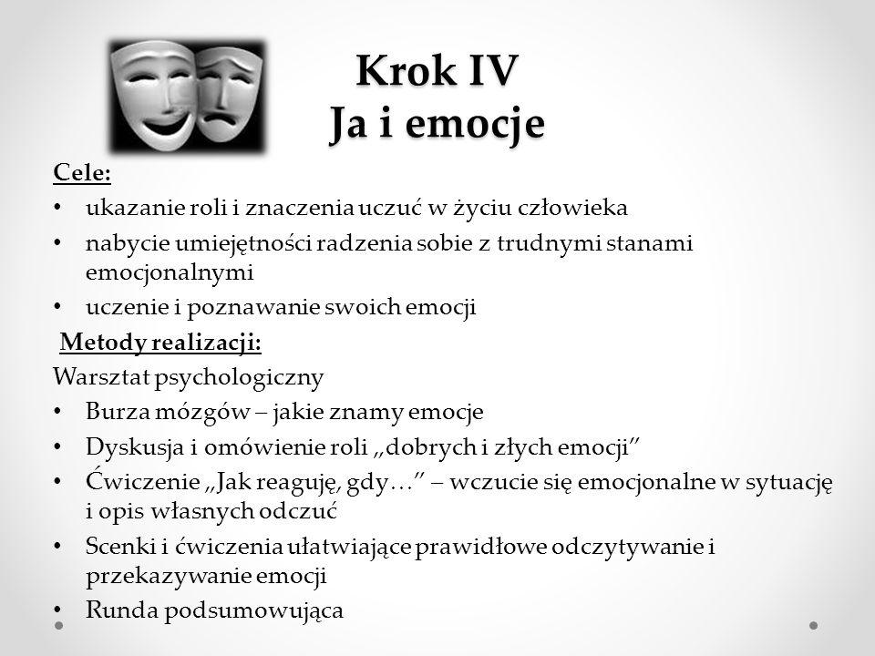 Krok IV Ja i emocje Cele:
