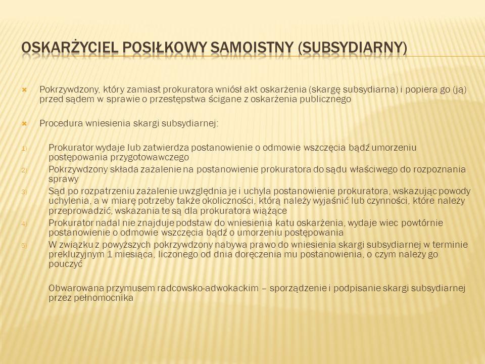 Oskarżyciel posiłkowy samoistny (subsydiarny)