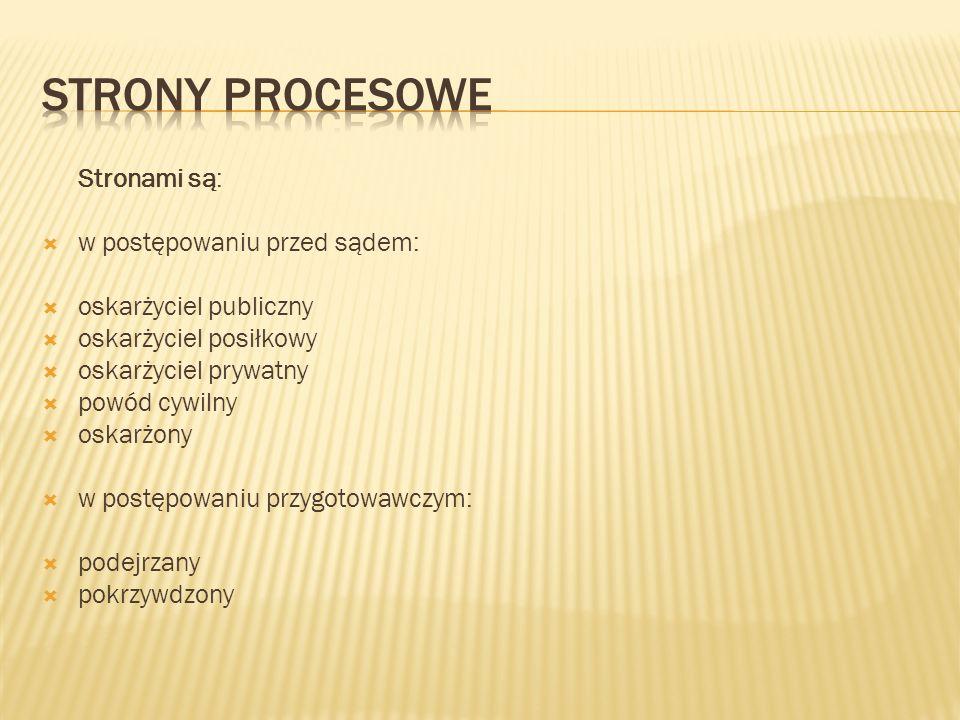 Strony procesowe Stronami są: w postępowaniu przed sądem: