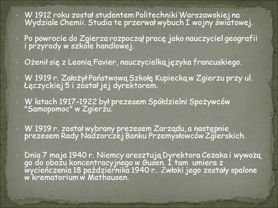 W 1912 roku został studentem Politechniki Warszawskiej na Wydziale Chemii. Studia te przerwał wybuch I wojny światowej.