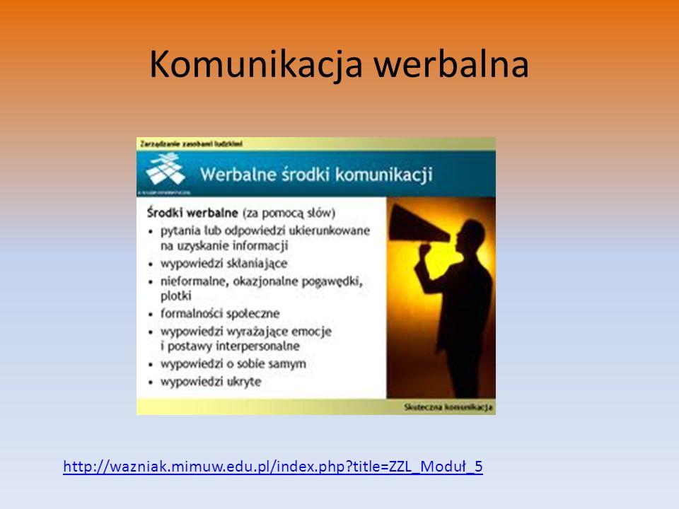 Komunikacja werbalna http://wazniak.mimuw.edu.pl/index.php title=ZZL_Moduł_5