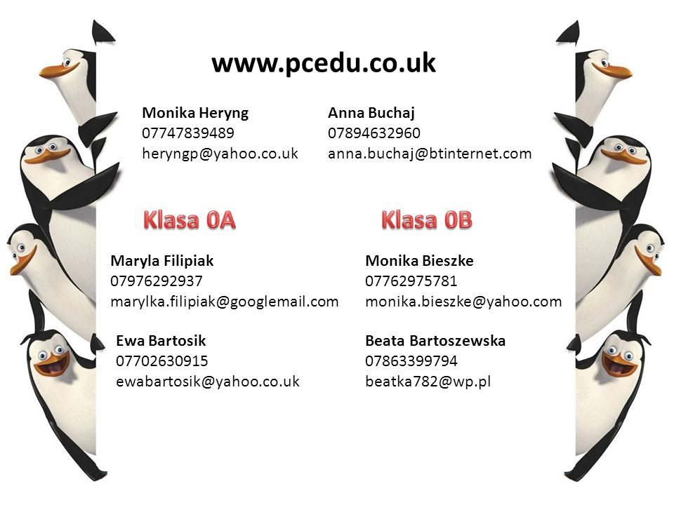 www.pcedu.co.uk Klasa 0A Klasa 0B Monika Heryng 07747839489
