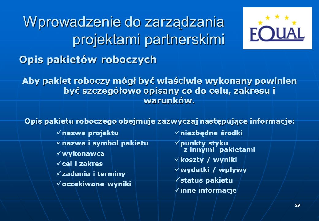 Opis pakietu roboczego obejmuje zazwyczaj następujące informacje: