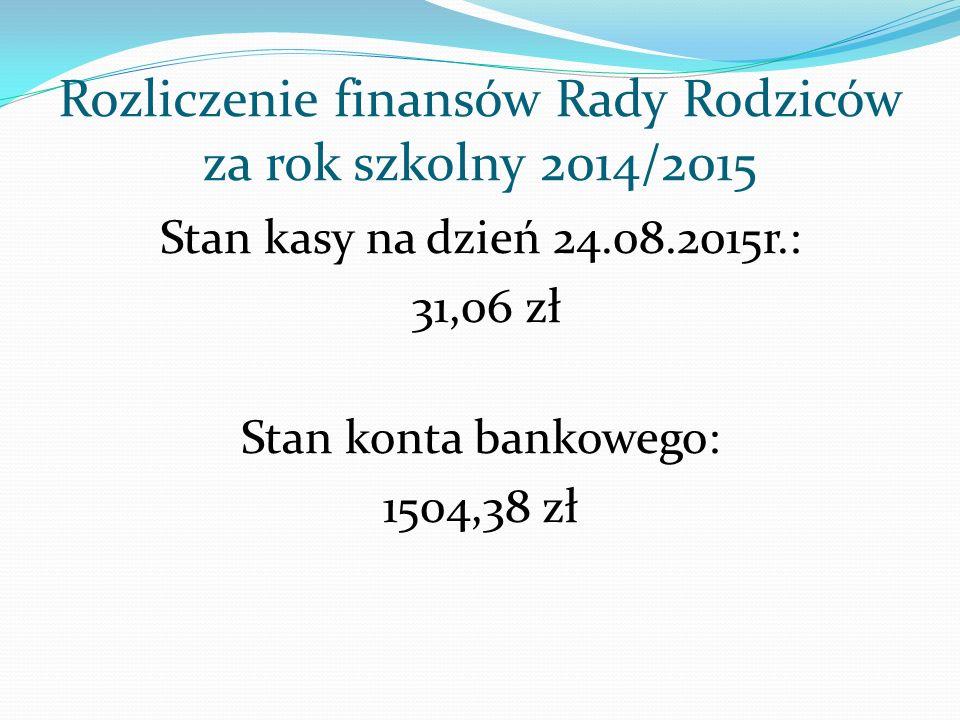 Rozliczenie finansów Rady Rodziców za rok szkolny 2014/2015