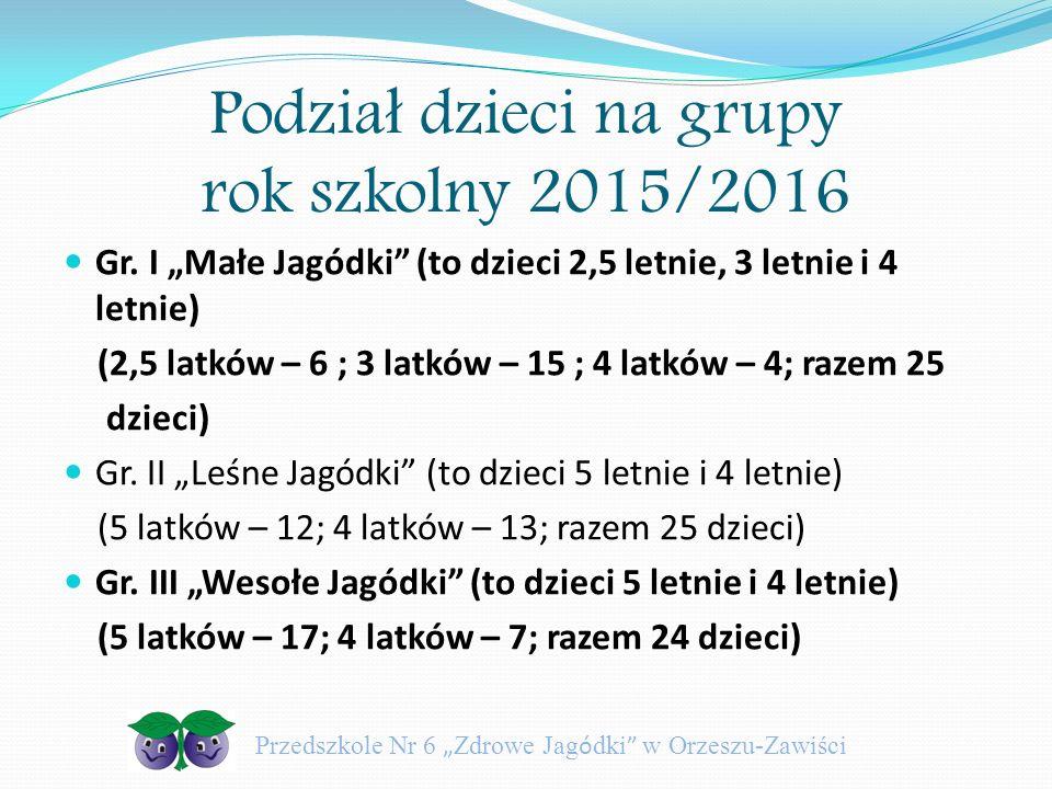 Podział dzieci na grupy rok szkolny 2015/2016