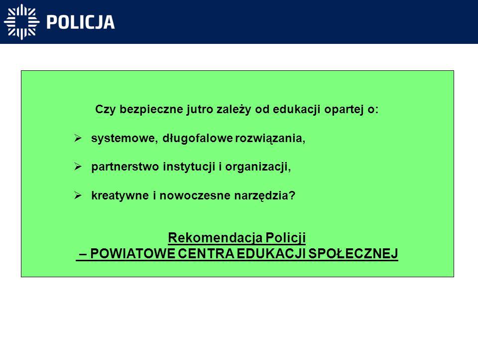 Rekomendacja Policji – POWIATOWE CENTRA EDUKACJI SPOŁECZNEJ