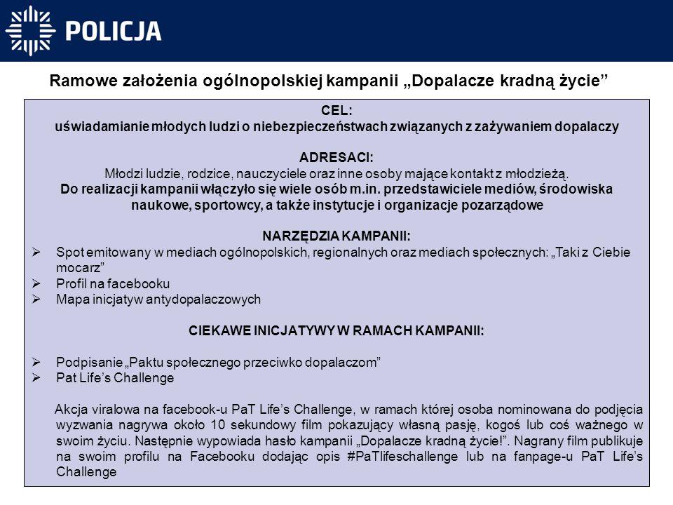 """Ramowe założenia ogólnopolskiej kampanii """"Dopalacze kradną życie"""