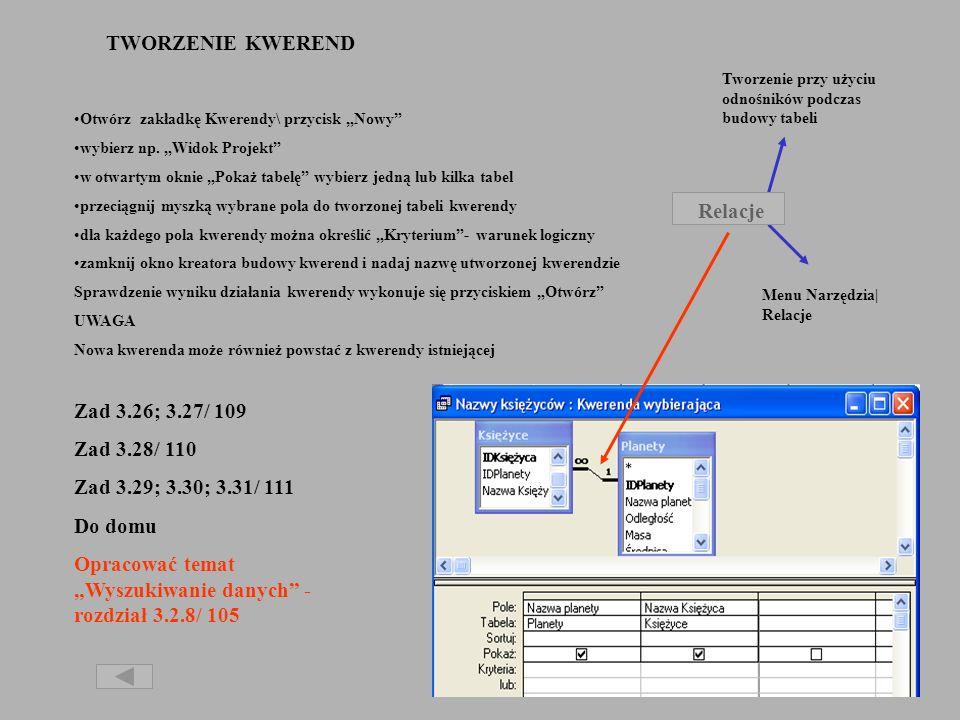 """Opracować temat """"Wyszukiwanie danych - rozdział 3.2.8/ 105"""