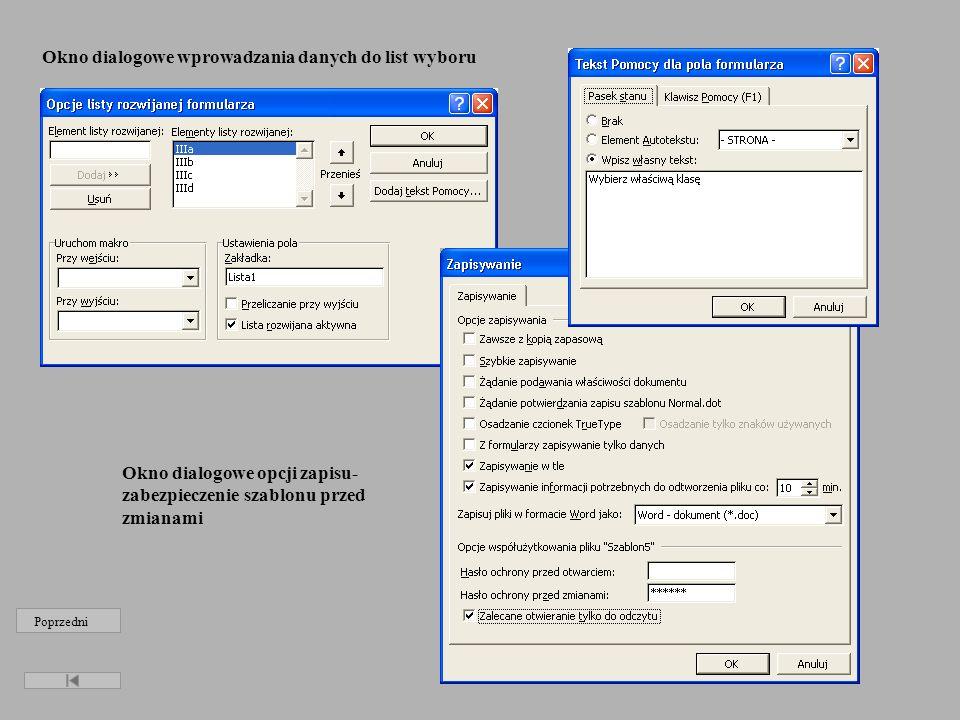 Okno dialogowe wprowadzania danych do list wyboru