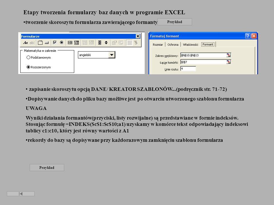 Etapy tworzenia formularzy baz danych w programie EXCEL