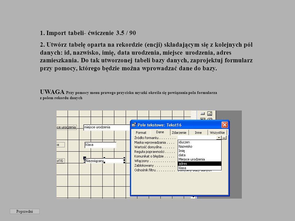 1. Import tabeli- ćwiczenie 3.5 / 90