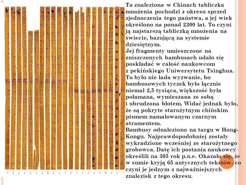Ta znaleziona w Chinach tabliczka mnożenia pochodzi z okresu sprzed zjednoczenia tego państwa, a jej wiek określono na ponad 2300 lat. To czyni ją najstarszą tabliczką mnożenia na świecie, bazującą na systemie dziesiętnym.