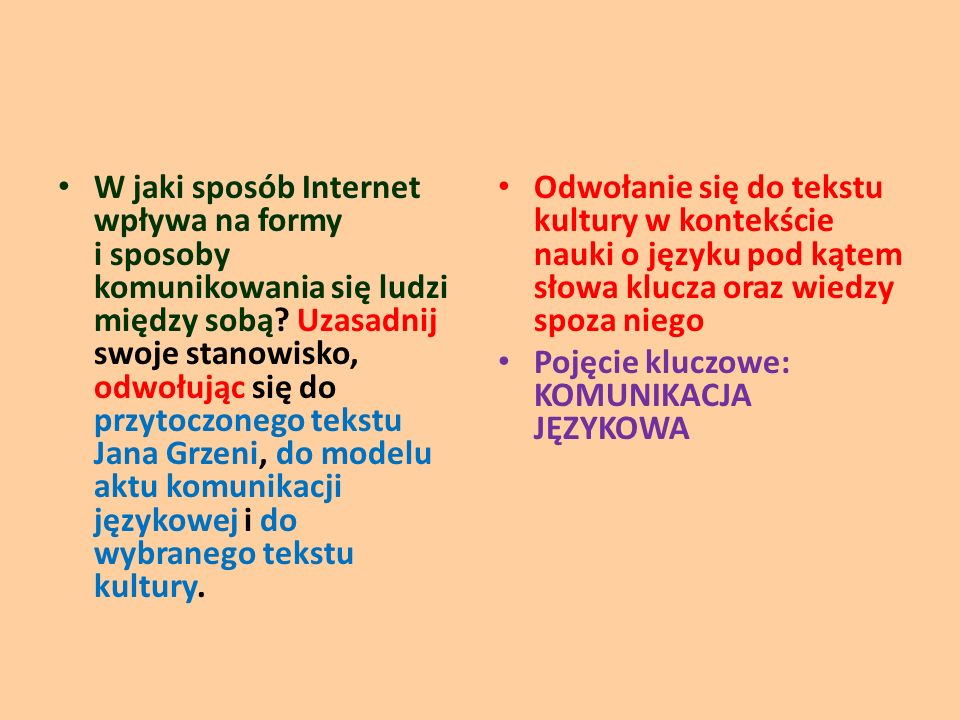 W jaki sposób Internet wpływa na formy i sposoby komunikowania się ludzi między sobą Uzasadnij swoje stanowisko, odwołując się do przytoczonego tekstu Jana Grzeni, do modelu aktu komunikacji językowej i do wybranego tekstu kultury.