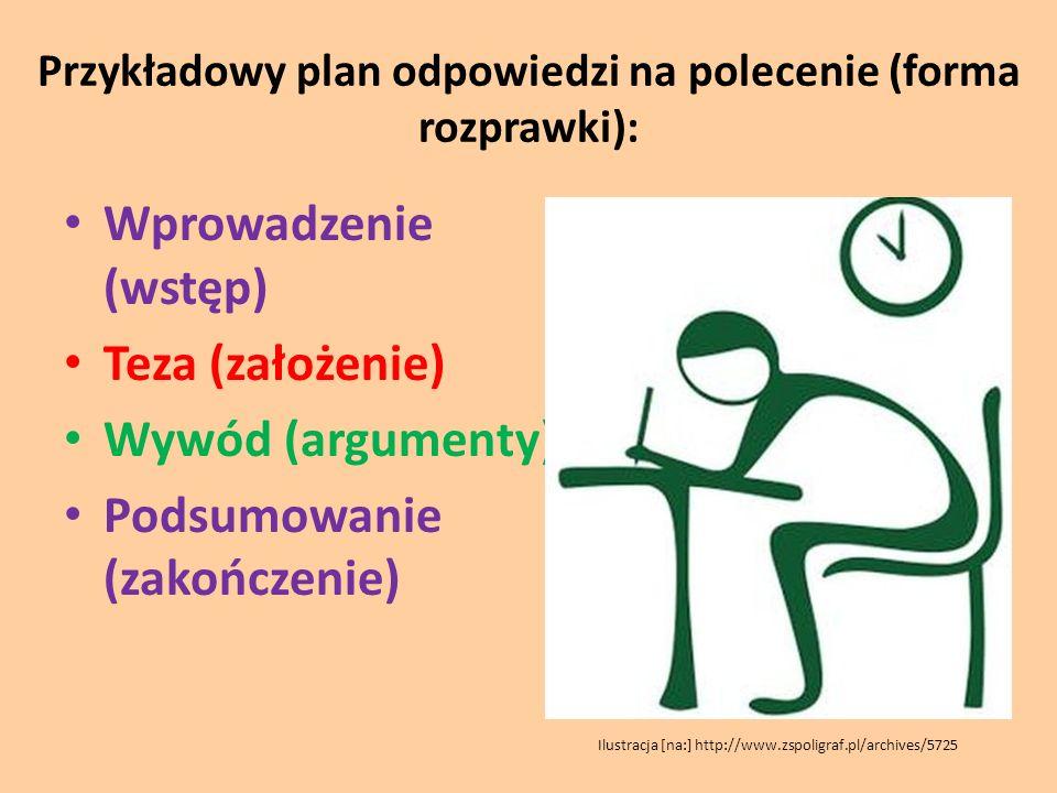 Przykładowy plan odpowiedzi na polecenie (forma rozprawki):