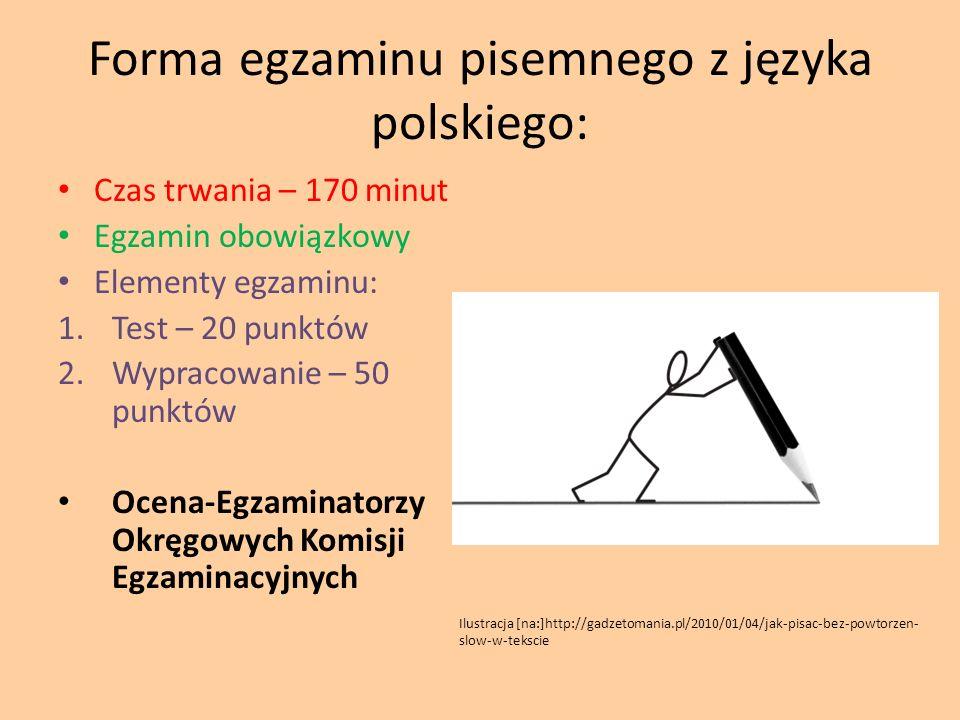 Forma egzaminu pisemnego z języka polskiego: