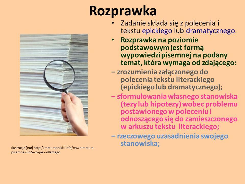 Rozprawka Zadanie składa się z polecenia i tekstu epickiego lub dramatycznego.