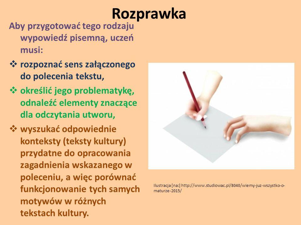 Rozprawka Aby przygotować tego rodzaju wypowiedź pisemną, uczeń musi: