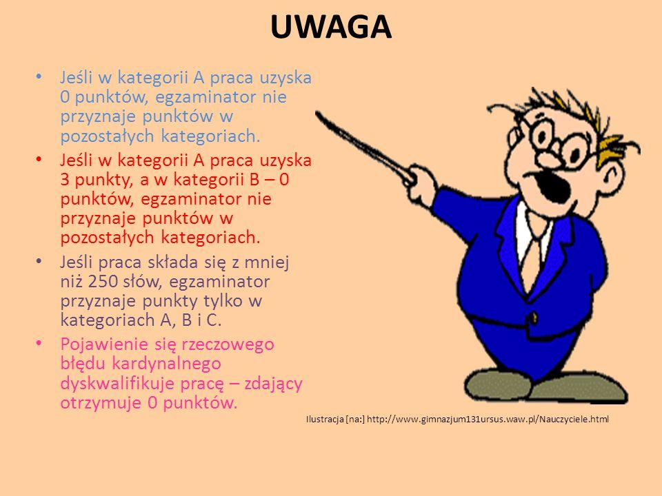UWAGA Jeśli w kategorii A praca uzyska 0 punktów, egzaminator nie przyznaje punktów w pozostałych kategoriach.