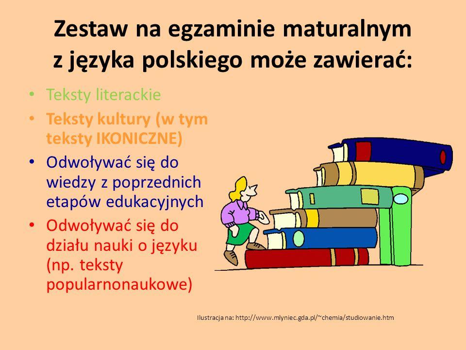 Zestaw na egzaminie maturalnym z języka polskiego może zawierać: