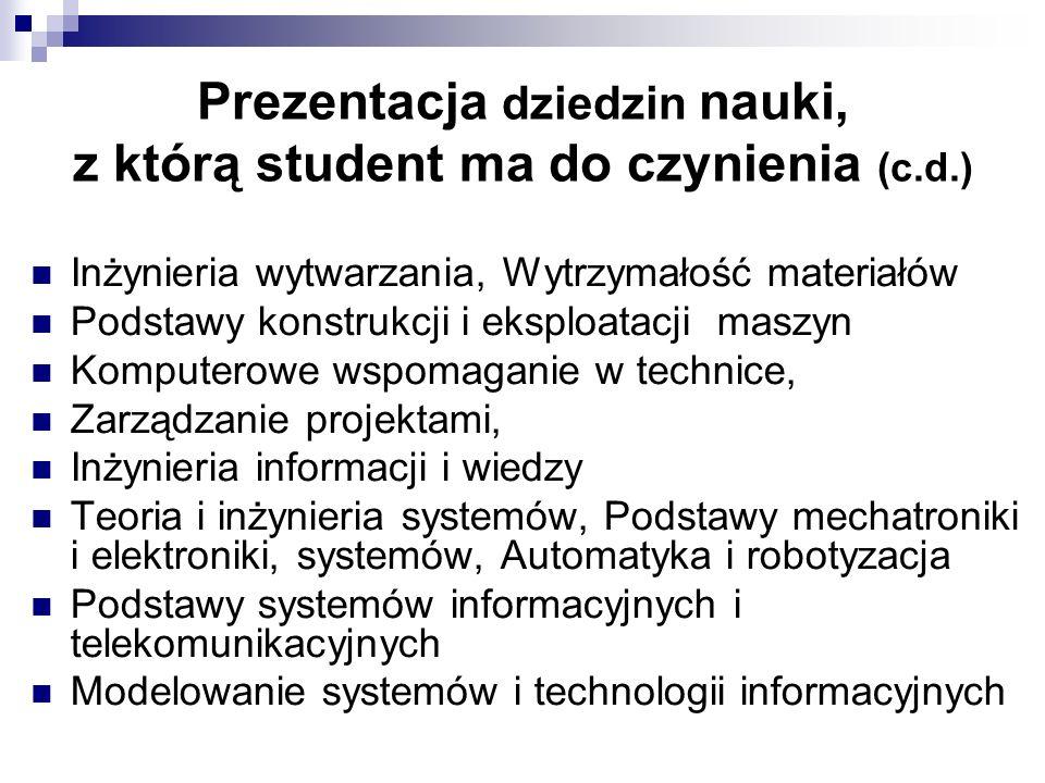 Prezentacja dziedzin nauki, z którą student ma do czynienia (c.d.)