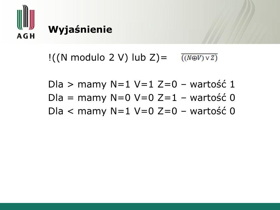 Wyjaśnienie!((N modulo 2 V) lub Z)= Dla > mamy N=1 V=1 Z=0 – wartość 1 Dla = mamy N=0 V=0 Z=1 – wartość 0 Dla < mamy N=1 V=0 Z=0 – wartość 0