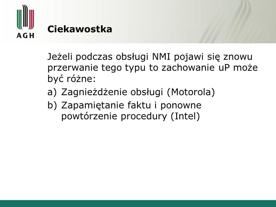 Ciekawostka Jeżeli podczas obsługi NMI pojawi się znowu przerwanie tego typu to zachowanie uP może być różne: