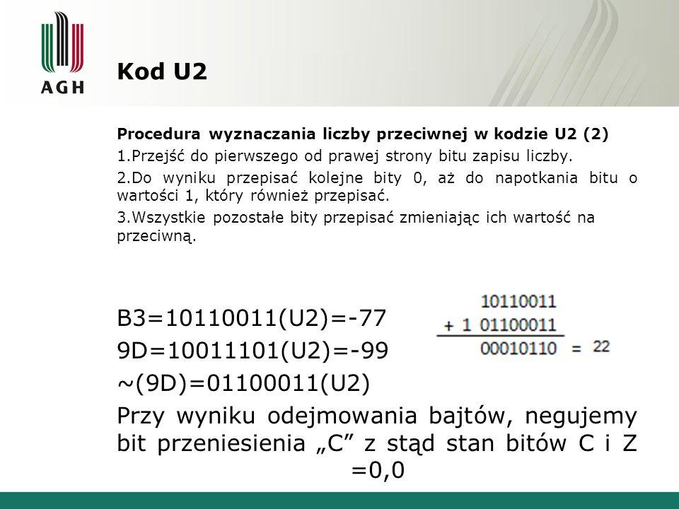 Kod U2 B3=10110011(U2)=-77 9D=10011101(U2)=-99 ~(9D)=01100011(U2)