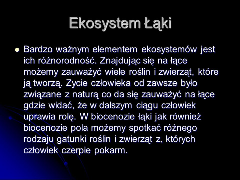 Ekosystem Łąki