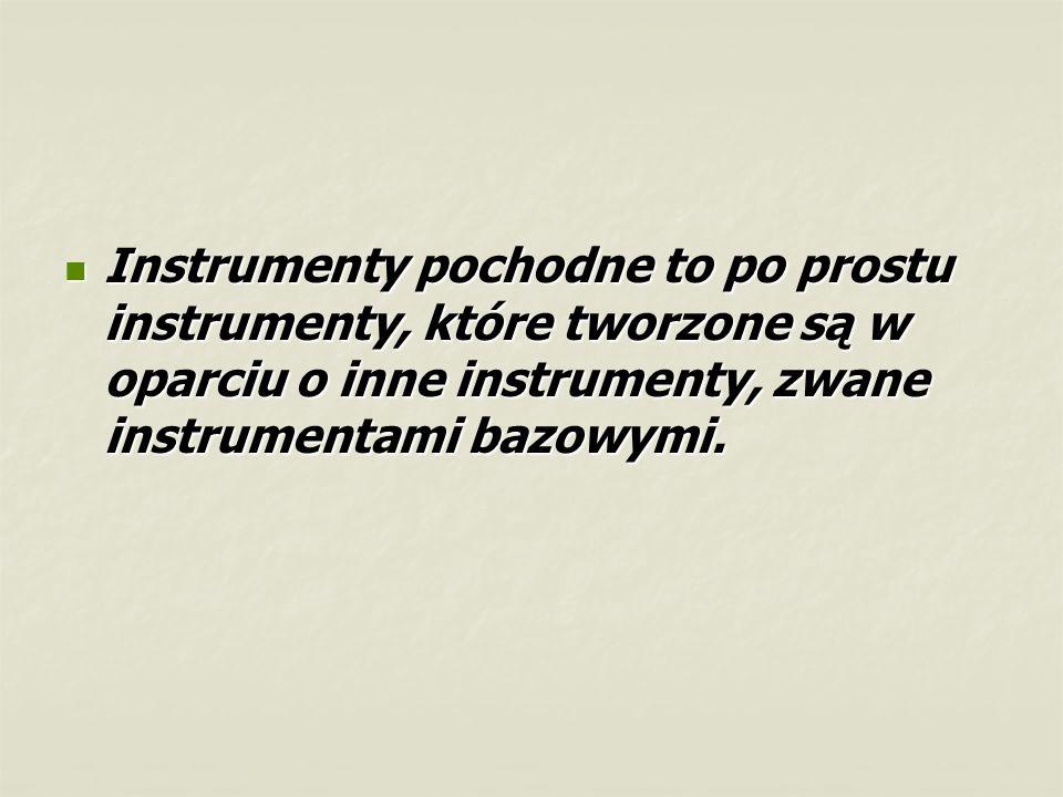 Instrumenty pochodne to po prostu instrumenty, które tworzone są w oparciu o inne instrumenty, zwane instrumentami bazowymi.