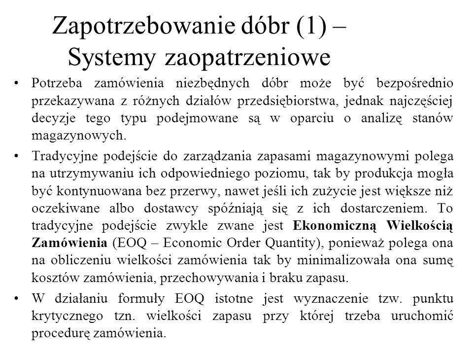 Zapotrzebowanie dóbr (1) – Systemy zaopatrzeniowe