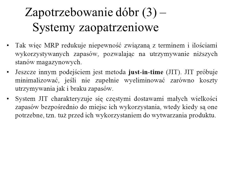 Zapotrzebowanie dóbr (3) – Systemy zaopatrzeniowe