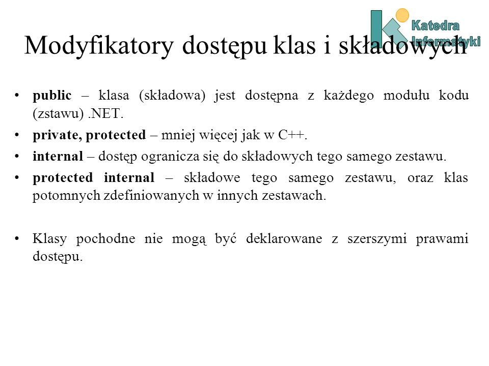 Modyfikatory dostępu klas i składowych