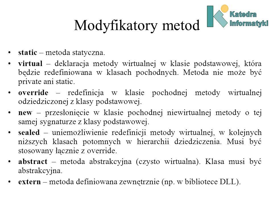 Modyfikatory metod static – metoda statyczna.