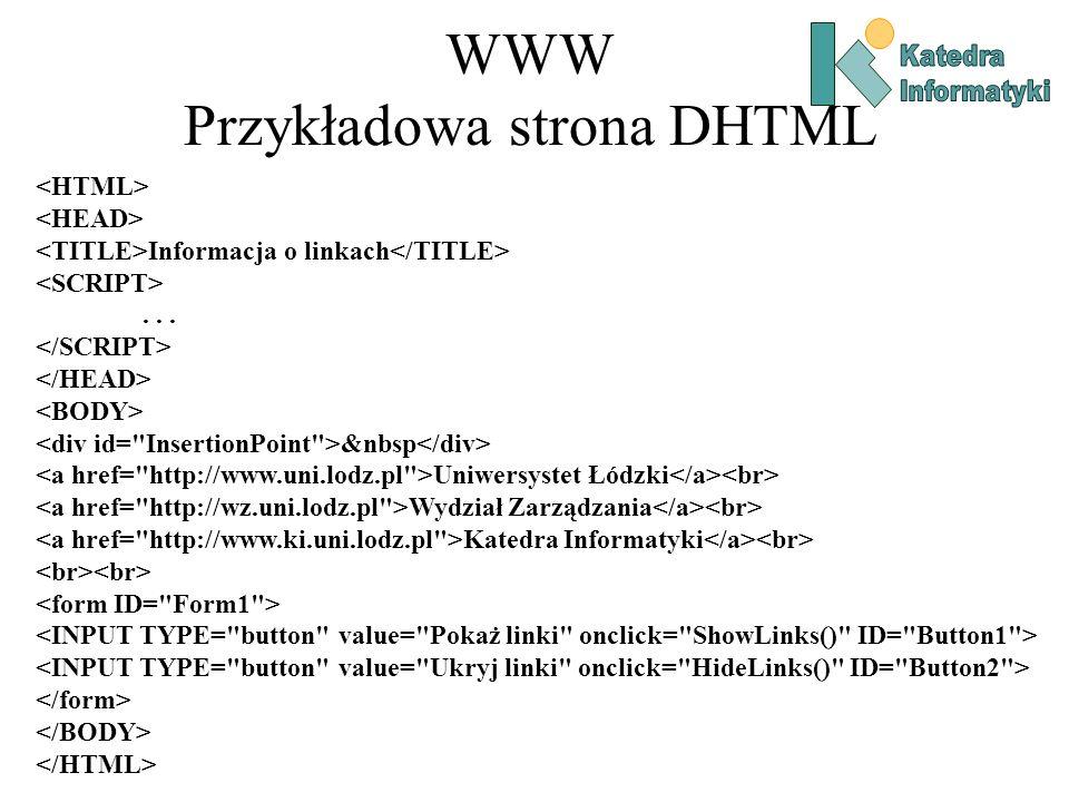 WWW Przykładowa strona DHTML