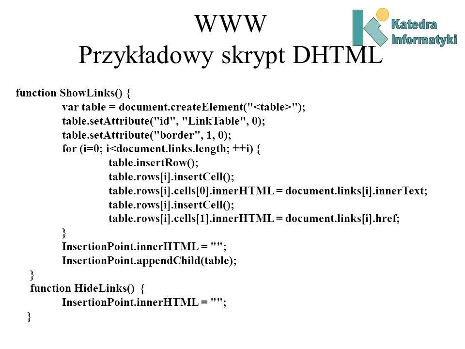 WWW Przykładowy skrypt DHTML
