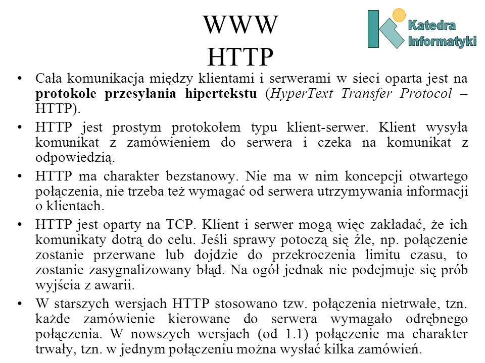 WWW HTTP Katedra. Informatyki.