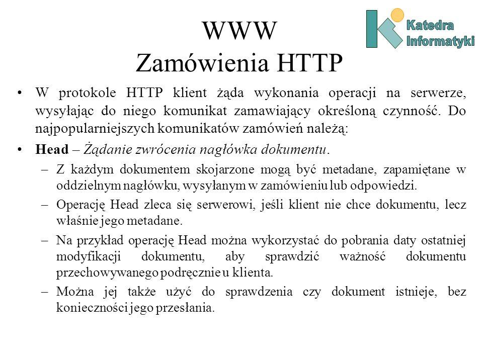 WWW Zamówienia HTTP Katedra. Informatyki.