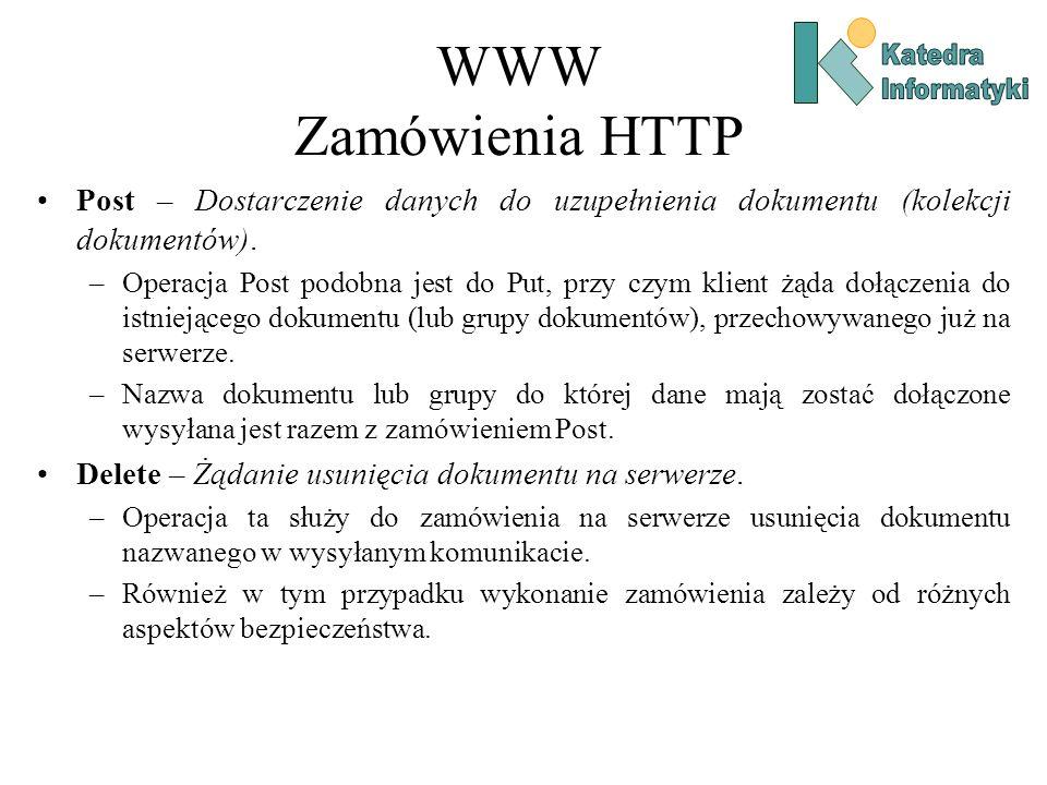 WWW Zamówienia HTTP Katedra. Informatyki. Post – Dostarczenie danych do uzupełnienia dokumentu (kolekcji dokumentów).