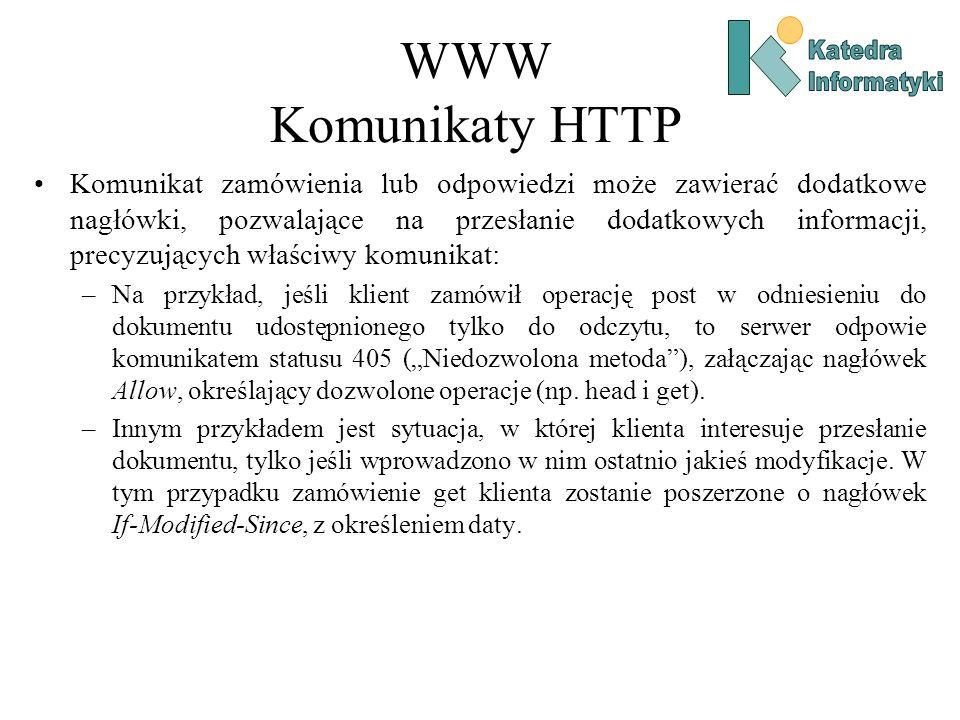 WWW Komunikaty HTTP Katedra. Informatyki.