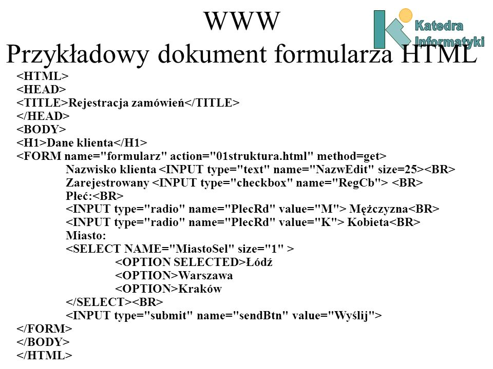 WWW Przykładowy dokument formularza HTML