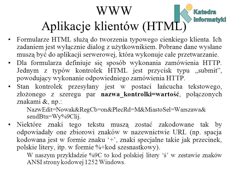 WWW Aplikacje klientów (HTML)