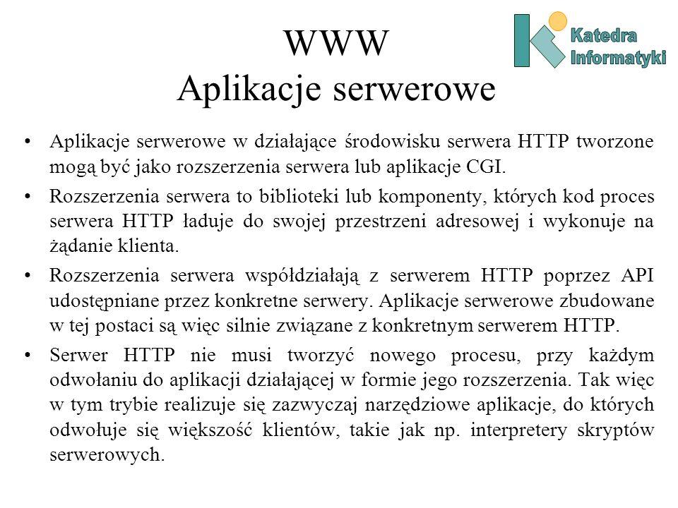 WWW Aplikacje serwerowe