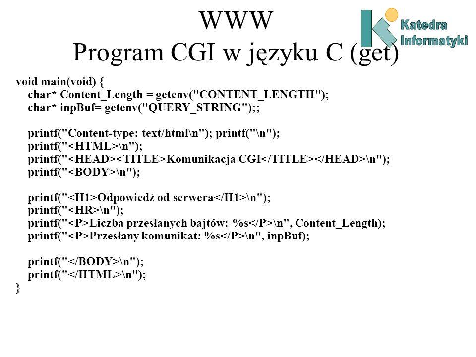 WWW Program CGI w języku C (get)