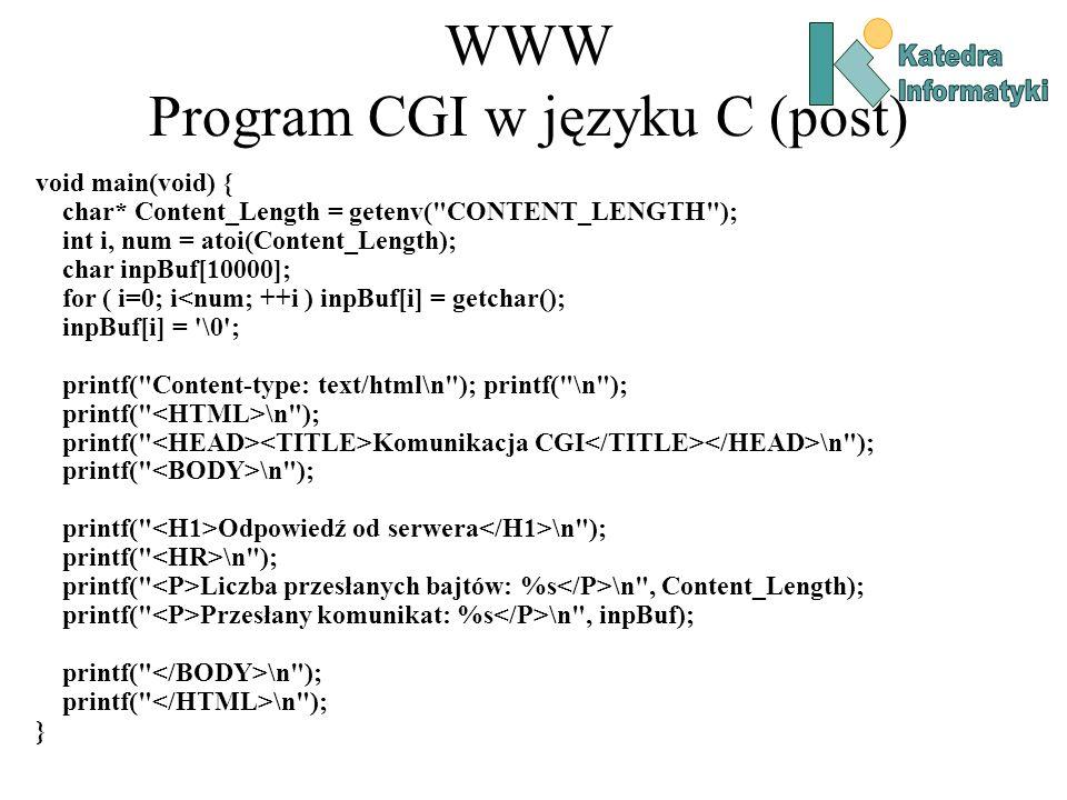 WWW Program CGI w języku C (post)