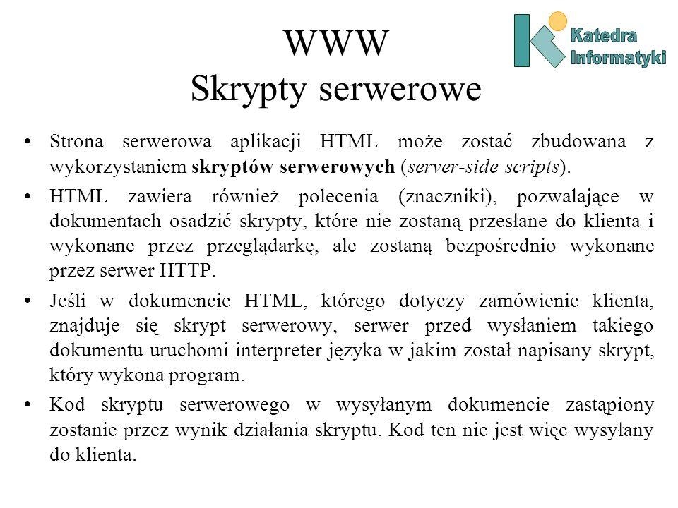 WWW Skrypty serwerowe Katedra. Informatyki.
