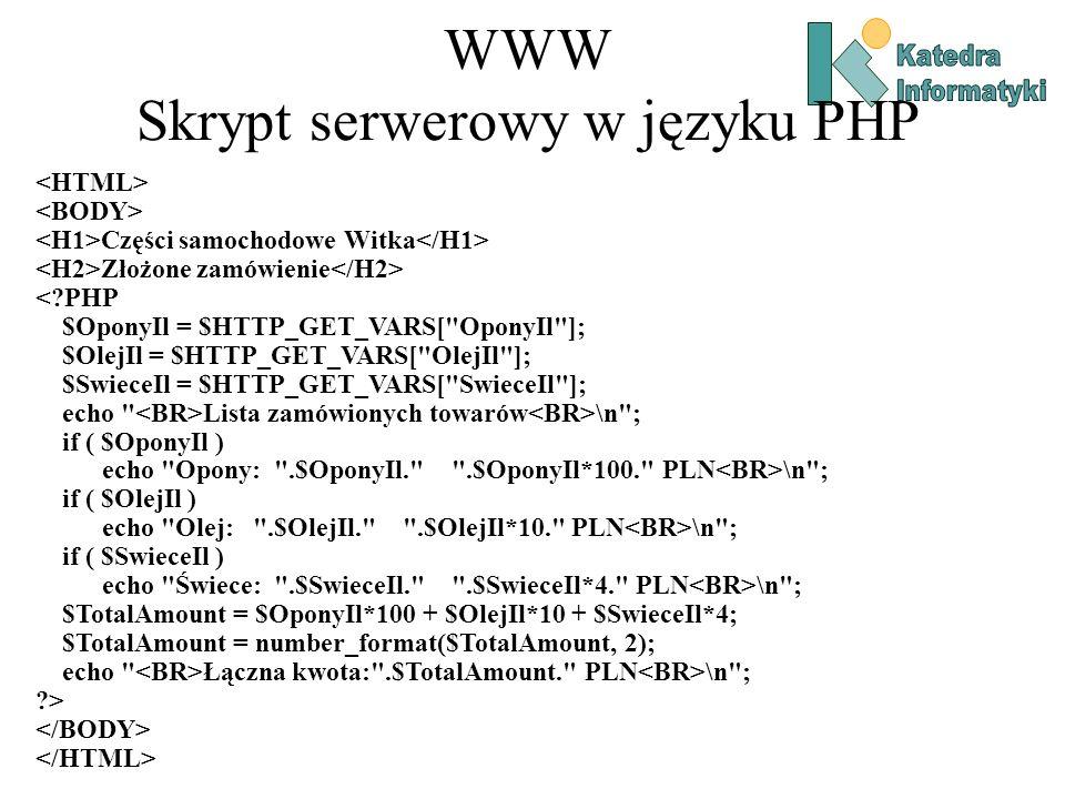WWW Skrypt serwerowy w języku PHP