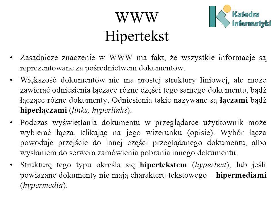 WWW Hipertekst Katedra. Informatyki. Zasadnicze znaczenie w WWW ma fakt, że wszystkie informacje są reprezentowane za pośrednictwem dokumentów.