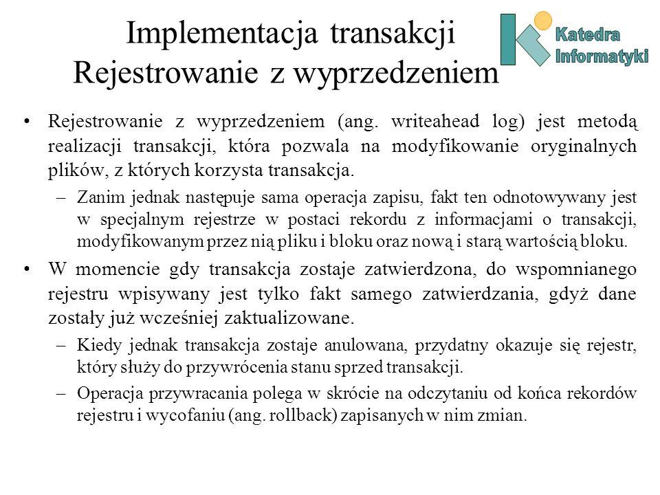 Implementacja transakcji Rejestrowanie z wyprzedzeniem